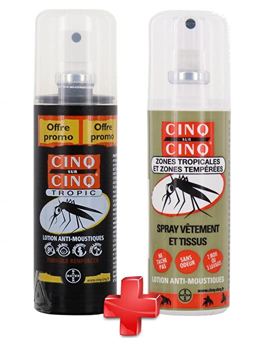 Cinq Sur Cinq alta protección Tropic repelente de mosquitos spray 100 ml + ropa Spray 100