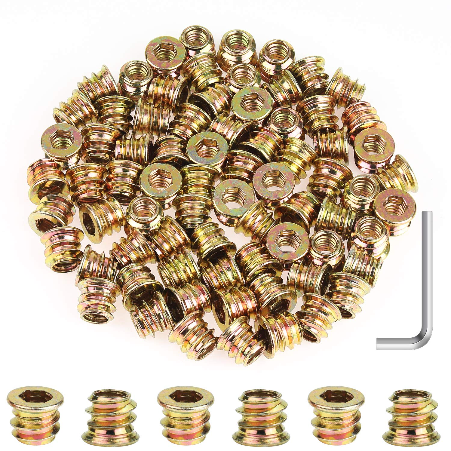 """Powlankou 90 Pieces 1/4""""-20 x 10mm Furniture Insert Nut, Hex Socket Threaded Insert Nuts with a Hex Wrench"""