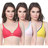 Yes Beauty Multi Color Contasrt Design Non-Padded Sports Bra(incl. 3 Bra's)