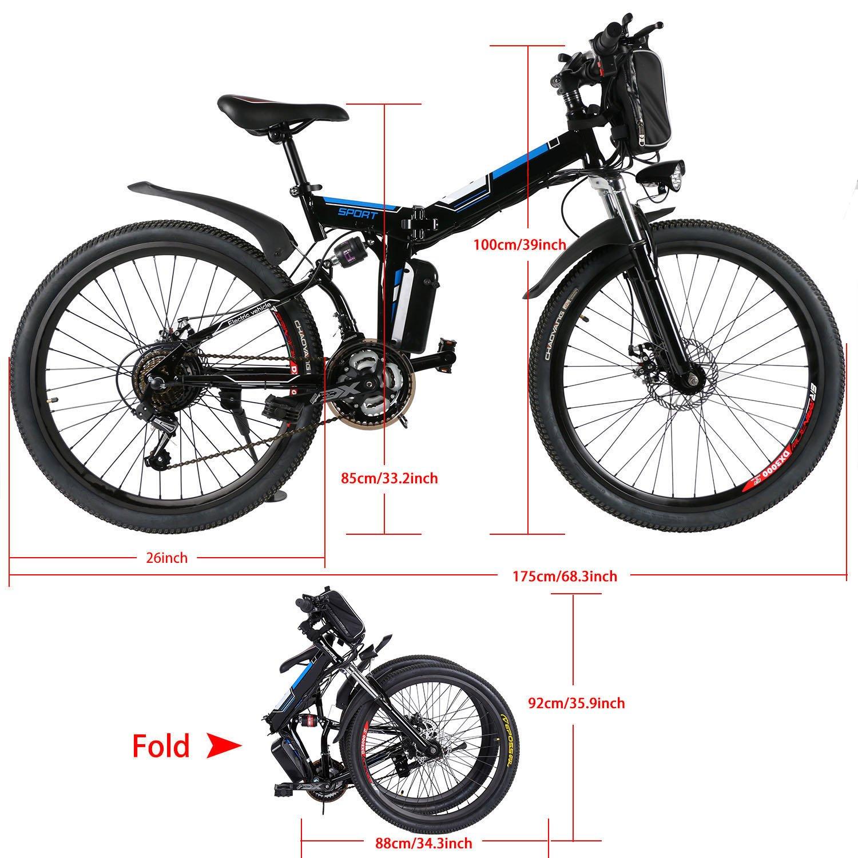 AMDirect Bicicleta de Montaña Eléctrica Bici Plegable Ebike con Rueda de 26 Pulgadas Batería de Litio de Gran Capacidad 36V 250W 21 Velocidades Suspensión ...