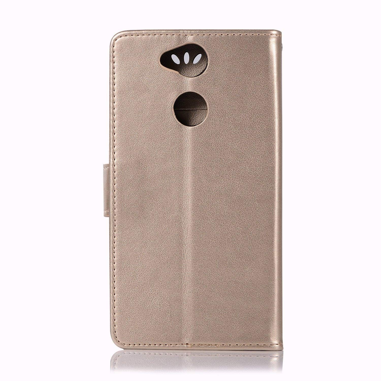 Cuero De La PU Magn/ético Capirotazo Billetera Apoyo Bumper Protector Cover Funda Carcasa Case Negro sinogoods para Sony Xperia XA2 Funda