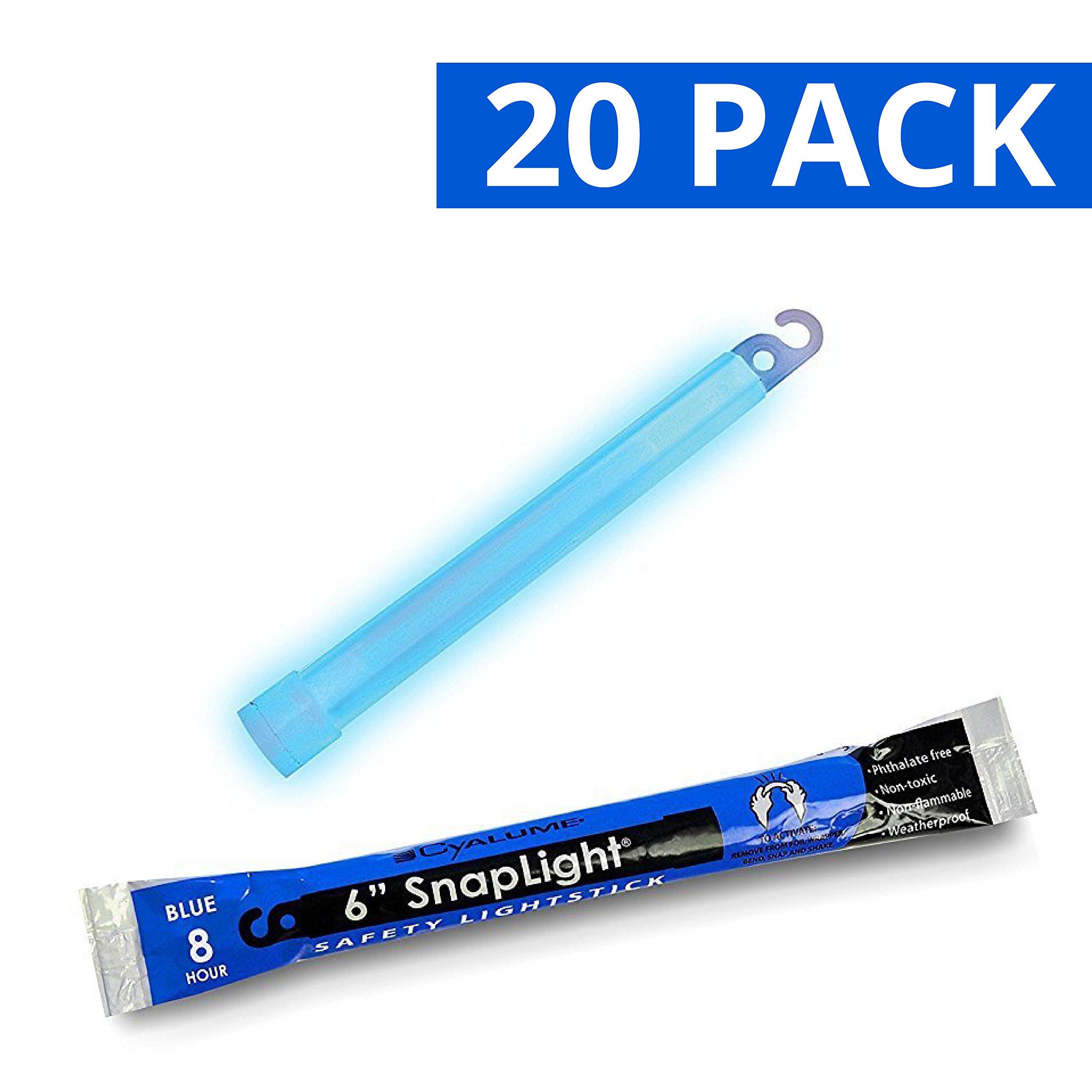 Cyalume SnapLight Blue Light Sticks - 6 Inch Industrial Grade, High Intensity Glow Sticks with 8 Hour Duration (Pack of 20)