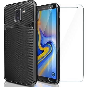 AROYI Funda Galaxy J6 Plus 2018 + Cristal Templado, Carcasa Samsung J6 Plus 2018 Protector de Pantalla Cristal Templado Soft TPU Silicone Case para ...