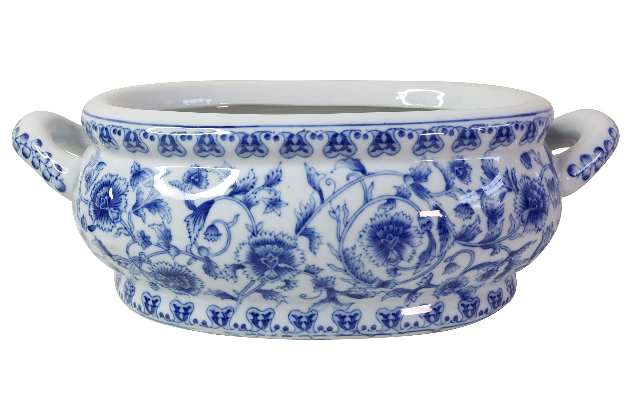Blue and White Porcelain Floral Chinoiserie Foot Bath 16'' Handle to Handle