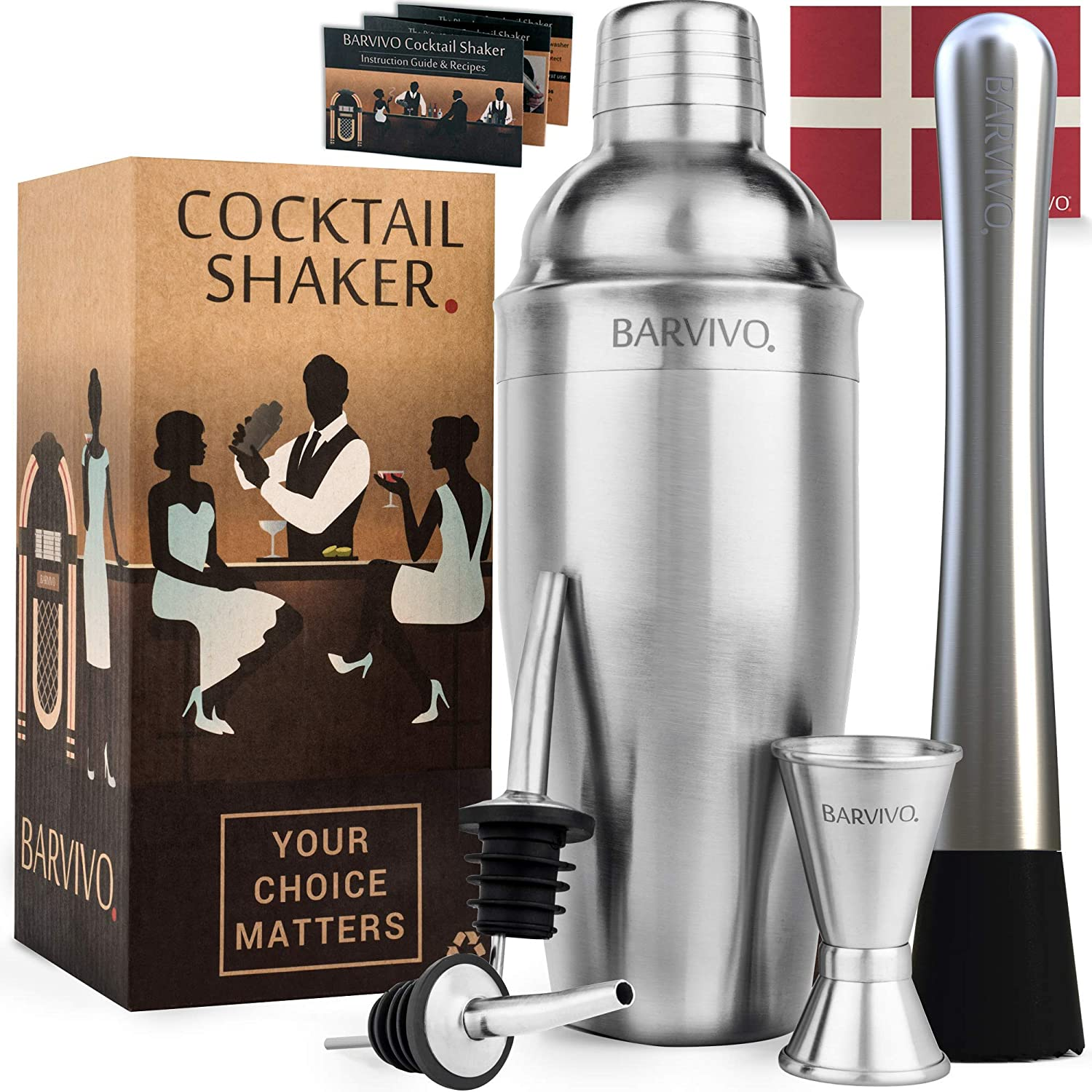 Barvivo Cocktail Shaker Set & Drink Muddler Bundle - Contains Everything Needed to Mix The Most Amazing Cocktails!