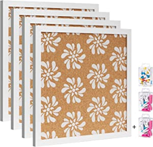 Cork Board Bulletin Board with White Floral Print 12