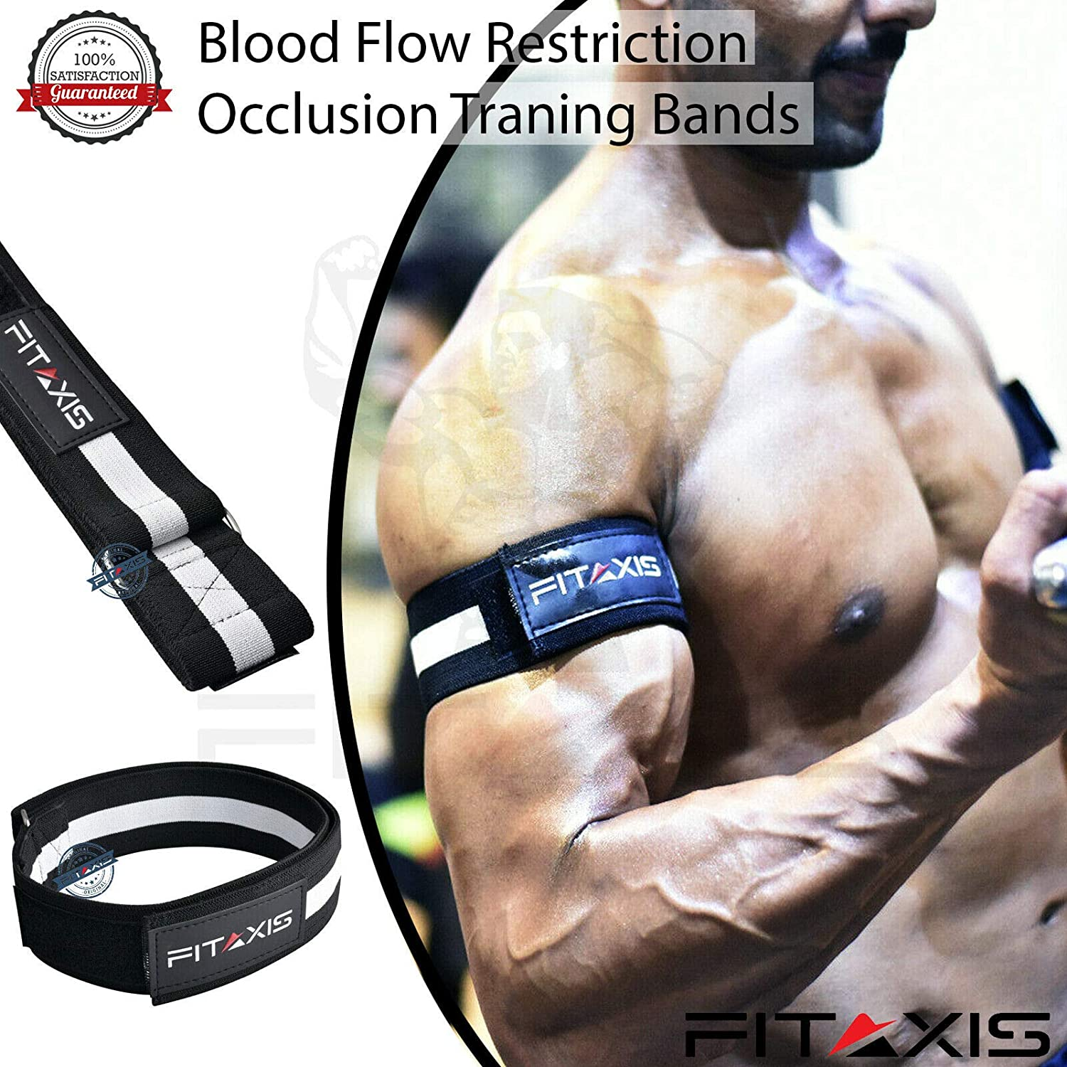 """Blood Resistance Flow Biceps Triceps Training Bands for Lean & Fast muscle  gaining of Arms, Legs without Lifting Heavyweight L-36 50""""/M-24 50"""" Pairs"""