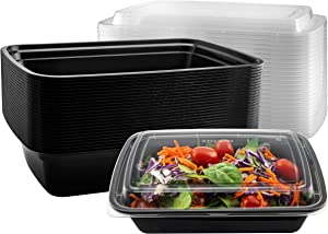 NYHI Meal Prep Food Containers | One Compartment BPA-Free Plastic Food Storage Portion Control Dishes With Lids | Reusable Bento Lunch Box | Microwave Dishwasher Freezer Safe | 38 ounce - 25 Pack