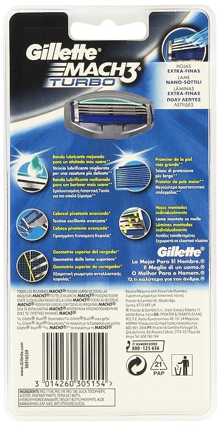 Gillette Mach3 Turbo - maquinillas de afeitar para hombres (Azul, Color blanco, Plata): Amazon.es: Belleza