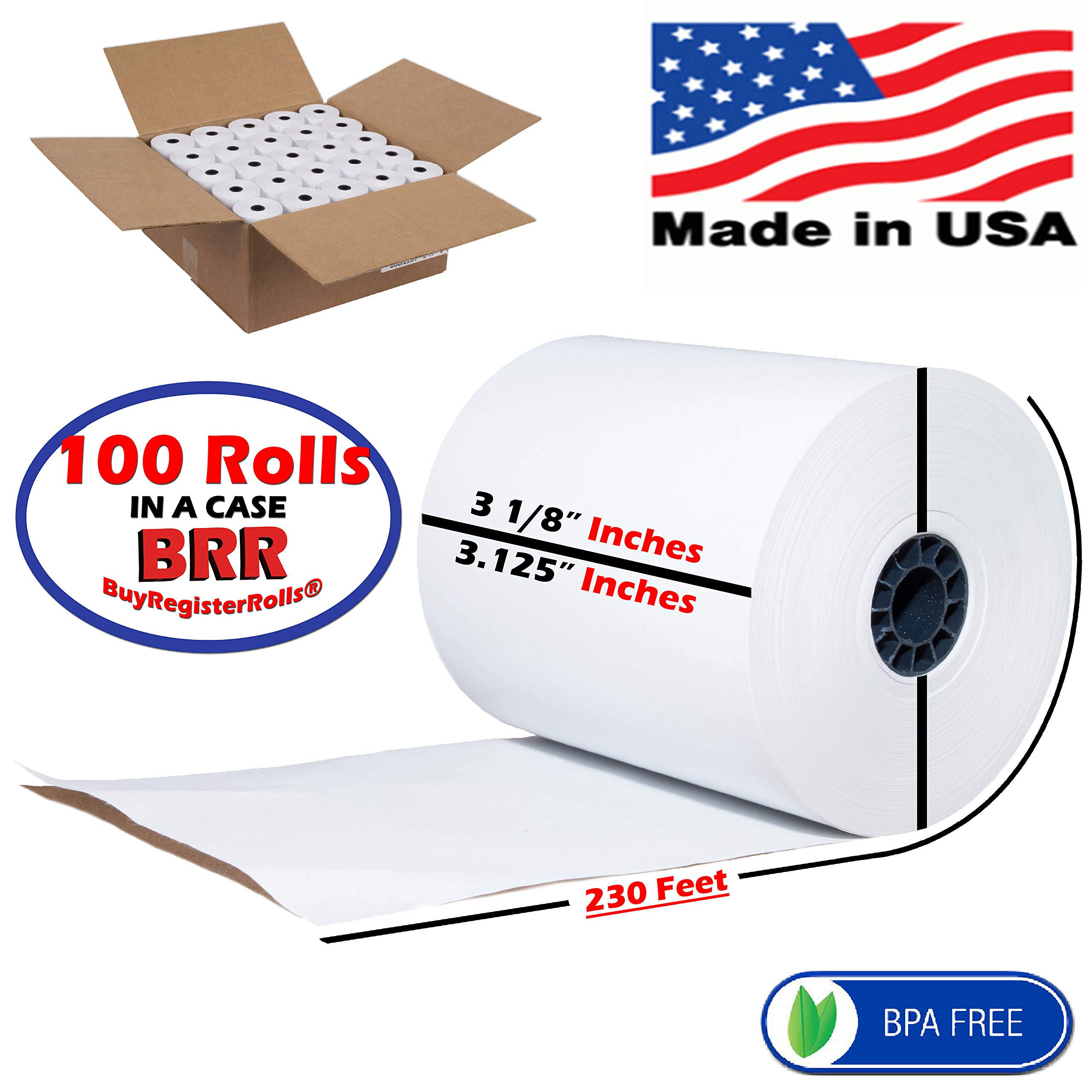 Thermal Paper roll 3 1 8' x 230 POS-X XR510 Thermal Receipt Printer BPA Free Made in USA from BuyRegisterRolls (3 1/8 X 230 Thermal Paper 100 Rolls) by BuyRegisterRolls