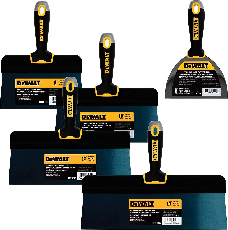 "DEWALT Blue Steel Big Back Taping Knife 4-Pack + FREE BONUS 6"" Soft Grip Putty Knife | 8/10/12/14-Inches | Soft Grip Handles | DXTT-3-161"
