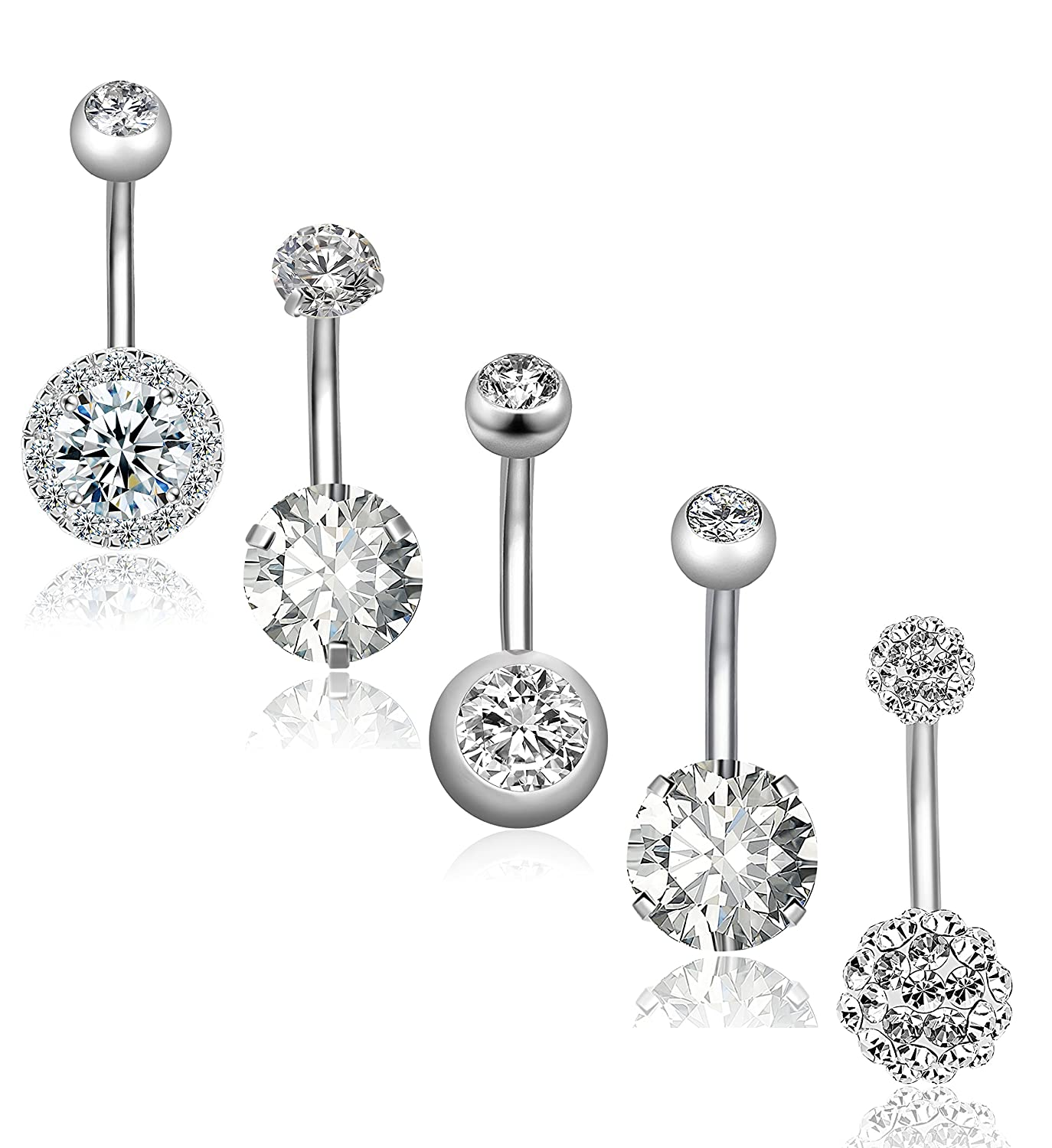 REVOLIA 5Pcs 14G Stainless Steel Belly Button Rings for Women Girls Navel Rings CZ Body Piercing BPR15-S