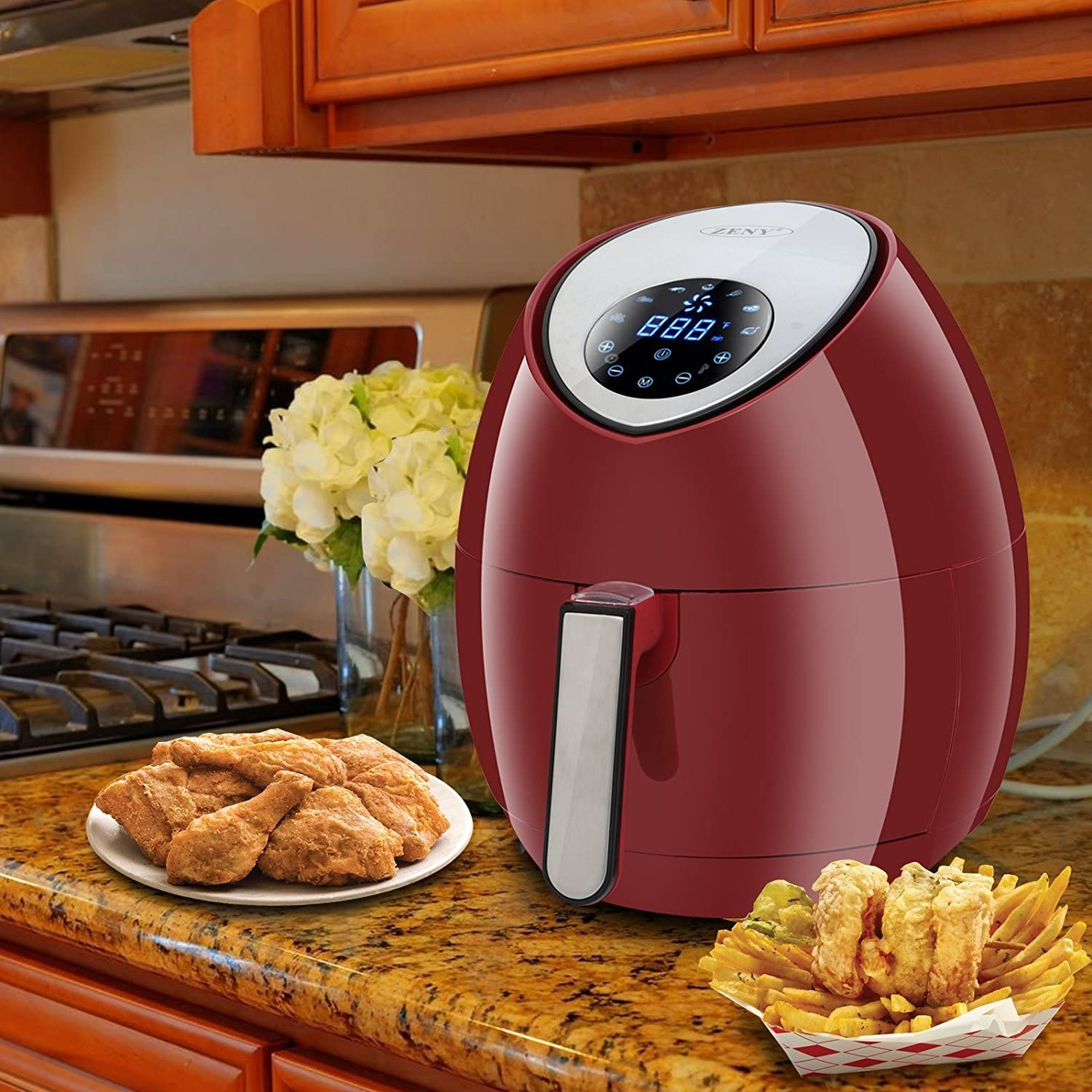 ZENY Burgundy 7-in-1 Touch Screen Control Electric Air Fryer 1500W, 3.7QT, 7 Presets, W Recipes CookBook