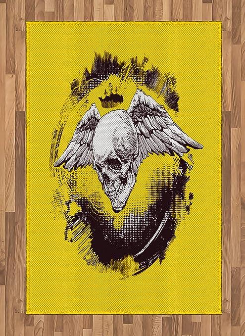ABAKUHAUS Tatuaje Alfombra de Área, Death Angel Wings Skull ...