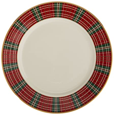 Amazon.com: Lenox Winter Greetings Plaid Butter Plate, Ivory ...
