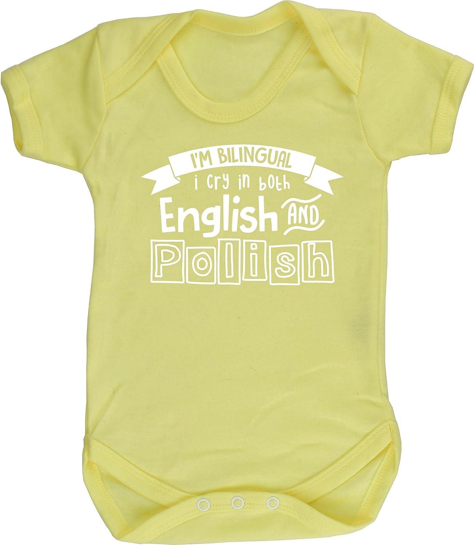 Hippowarehouse Im Bilingual I Cry in Both English and Polish Baby Vest Bodysuit Short Sleeve Boys Girls