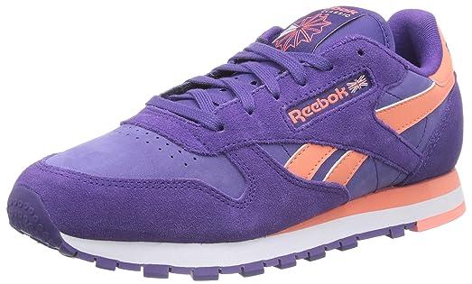 7492c6dfc45cd Reebok Classic Leather Seasonal II Suede, Baskets Basses Femme, Violett  (Sport Violet