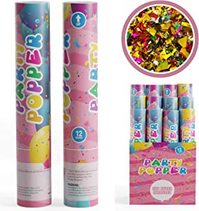 TUR Party Supplies Confetti Cannons Party Poppers (12 Pack) | Multicolor Confetti | Launches Up to 25ft | Giant (12 in) | Confetti Poppers for Parties, Birthdays, Weddings, and More