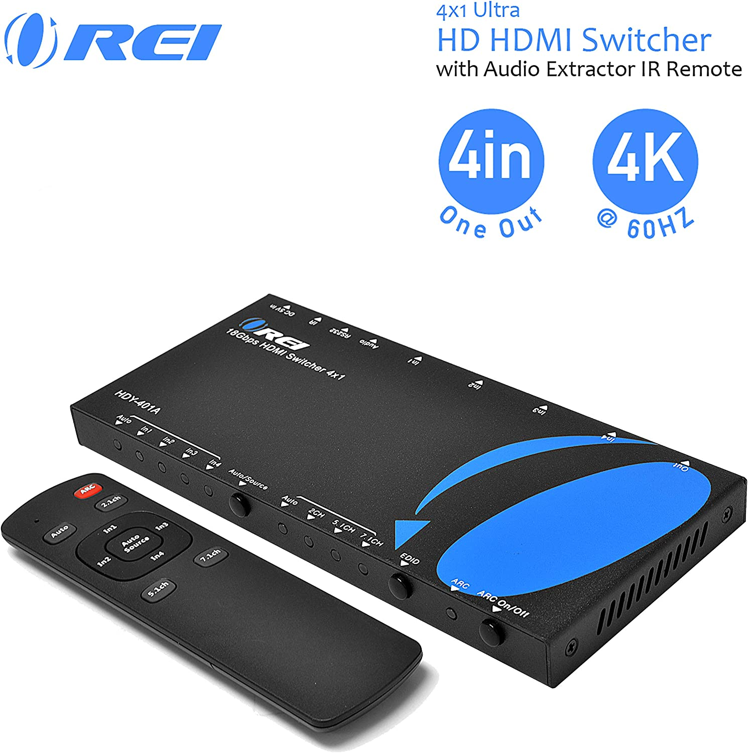 3D ARC Audio Out HDMI 4 in 1 out Switch Switcher Support 4K 2K 1080p HD