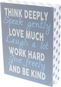 """Barnyard Designs Think Deeply Speak Gently Love Much Box Wall Art Sign, Primitive Country Farmhouse Home Decor Sign with Sayings 8"""" x 6"""""""