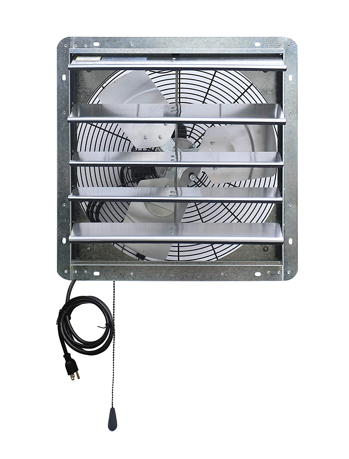 "Iliving ILG8SF18V-T 18 inch Shutter Exhaust Attic Garage Grow, Ventilation Fan with 3 Speed Thermostat 6 Foot Long 3 Plugs Cord, 18"" - Variable, Silver"
