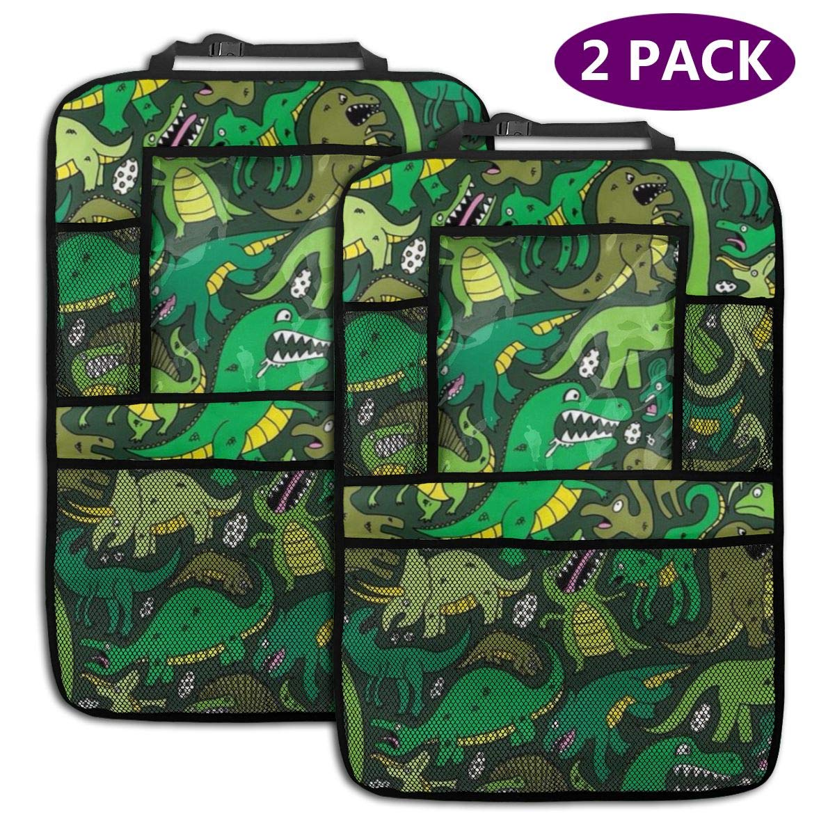 QF6FEICHAN Green Crocodile and Dinosaur Car Seat Back Protectors with Storage Pockets Kick Mats Accessories for Kids and Toddlers by QF6FEICHAN