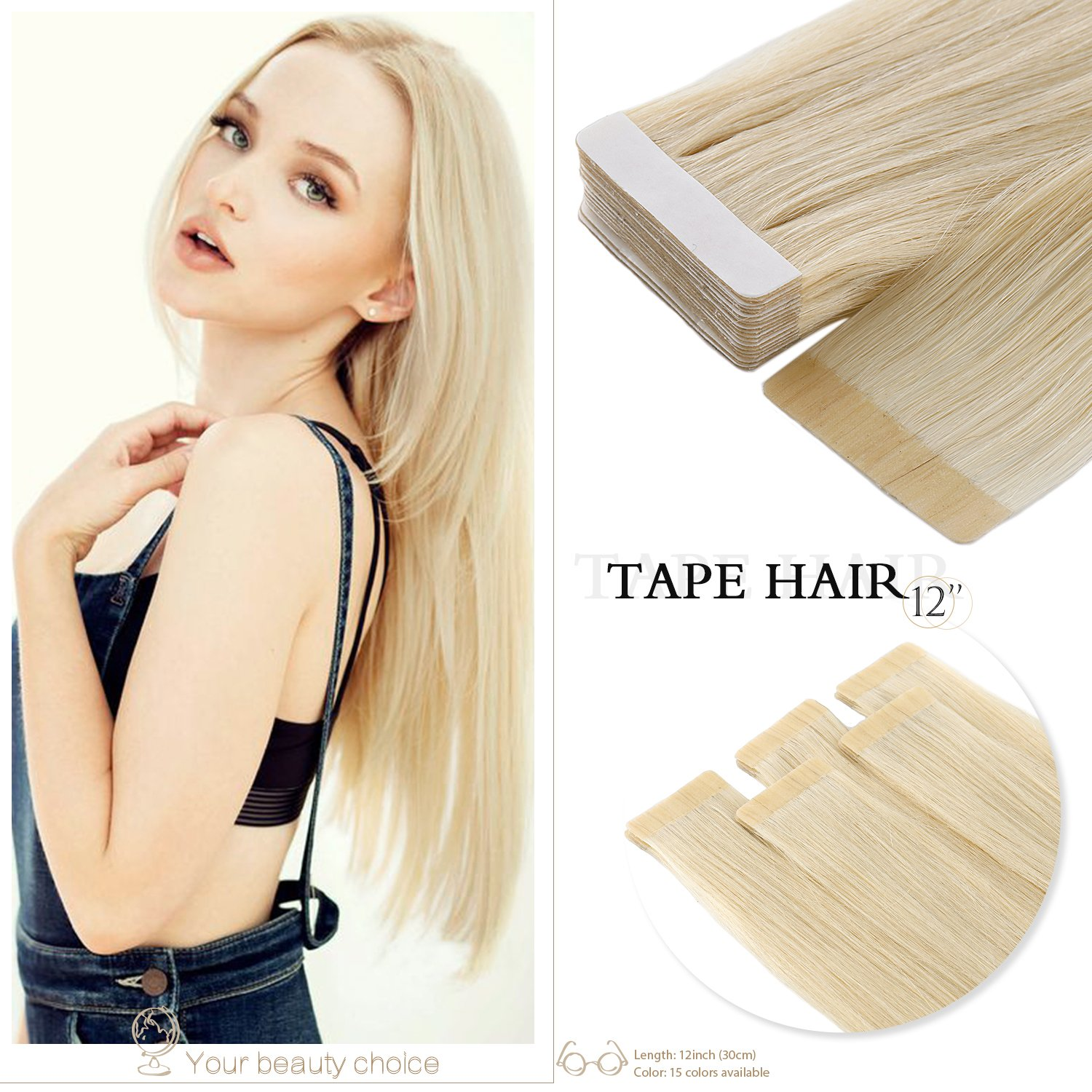 Neitsi A6 12inch Lightest Blonde Tape in Human Hair Extension Seamless Skin Weft Straight Remy Hair 10pcs (613#)