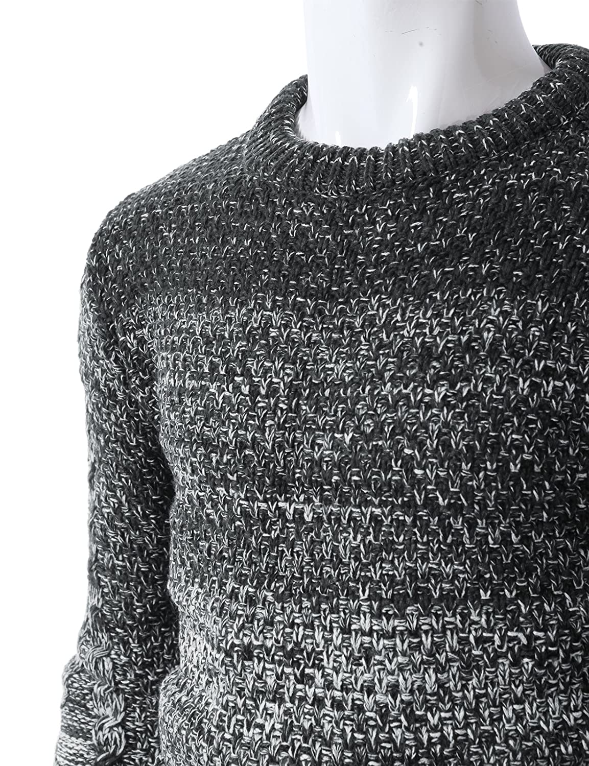 H2H Mens Fashion Casual Gradaion Knitted Long Sleeve Crew-Neck Jumpers