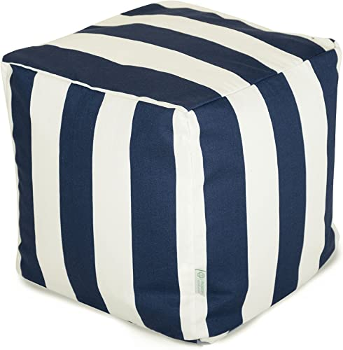 Majestic Home Goods Navy Blue Vertical Stripe Indoor / Outdoor Bean Bag Ottoman Pouf Cube 17″ L x 17″ W x 17″ H