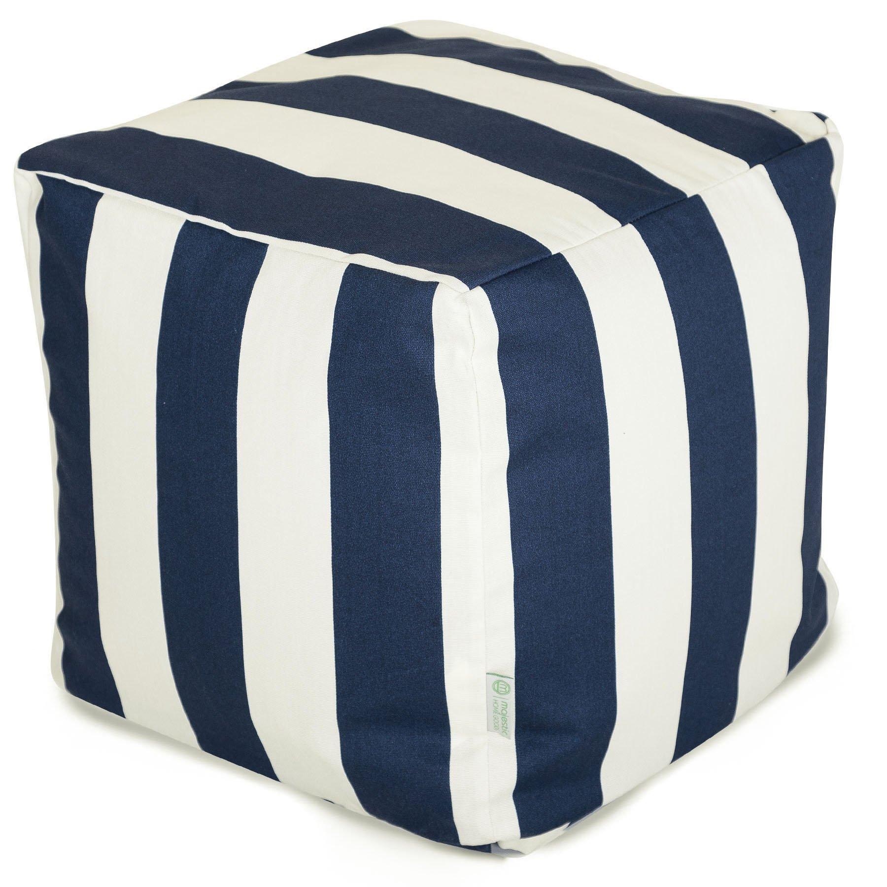Majestic Home Goods Navy Blue Vertical Stripe Indoor/Outdoor Bean Bag Ottoman Pouf Cube 17'' L x 17'' W x 17'' H