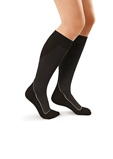 JOBST Sport Knee High 15-20 mmHg Compression Socks, Black/Cool Black,