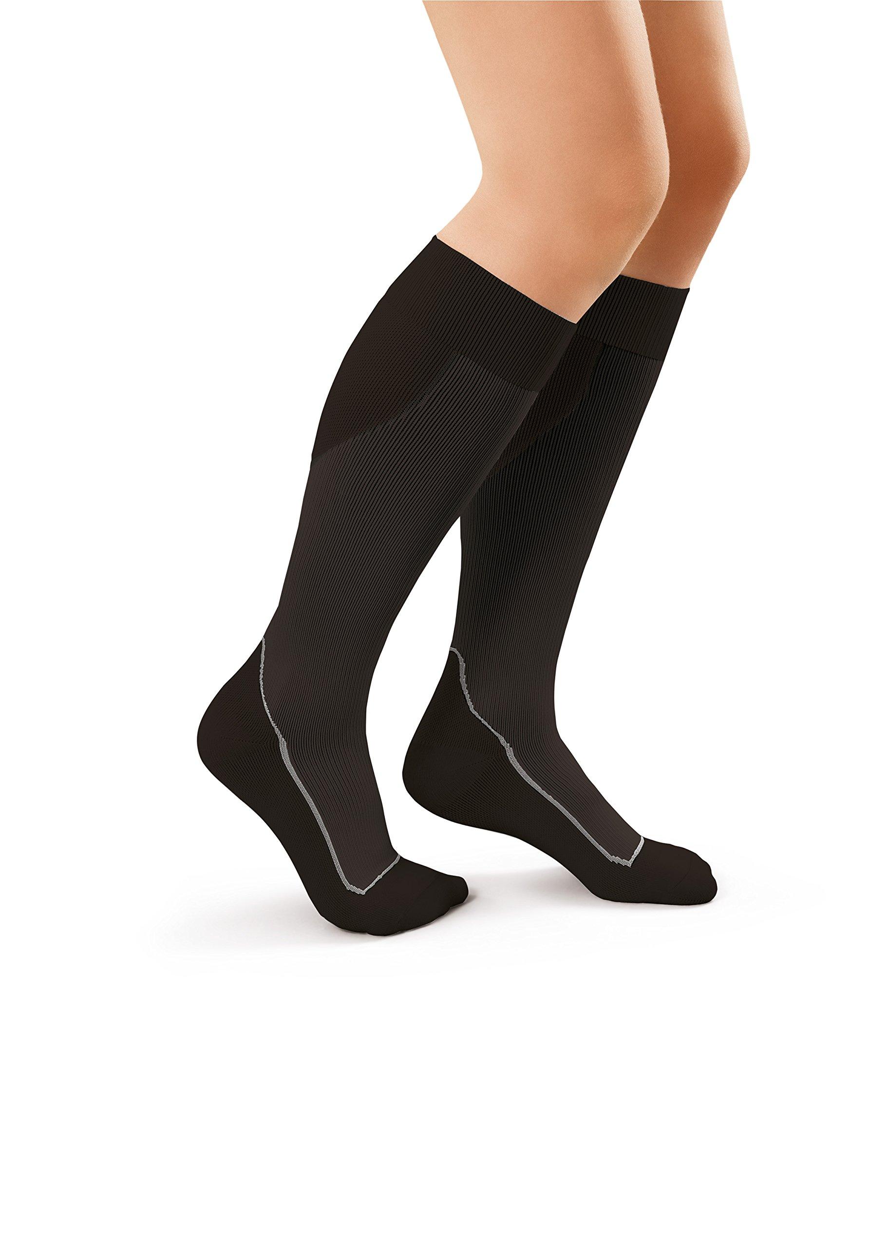 Amazon.com: JOBST Sport Knee High 15-20 mmHg Compression Socks, Black/Cool Black, X-Large: Health & Personal Care