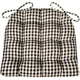 Barnett Products Dining Chair Pad With Ties   Black U0026 White Checkers 1/4  Inch