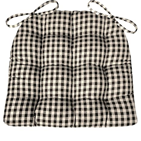 Charmant Barnett Products Dining Chair Pad With Ties   Black U0026 White Checkers  1/4u0026quot;