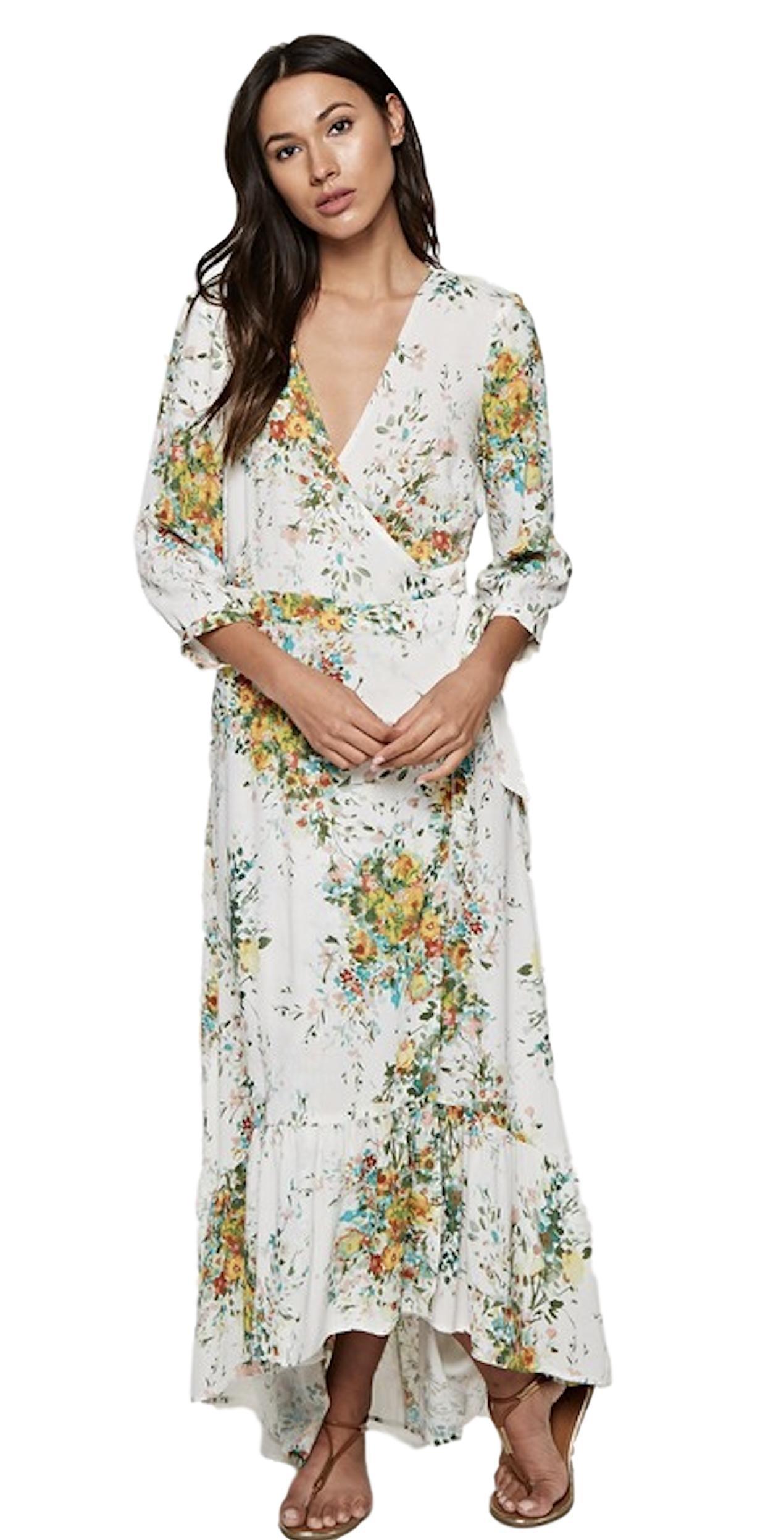Love Stitch Women's Floral V-Neck Wrap Maxi Dress with 3/4 Sleeves and Ruffle Bottom Hi-Low Hem (Medium, Vanilla/Apple Multi)