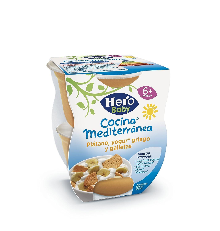 Hero Baby Cocina Mediterránea Plátano Yogur Galleta, Tarrina de Plástico - Paquete de 2 x 200 gr - Total: 400 gr: Amazon.es: Alimentación y bebidas