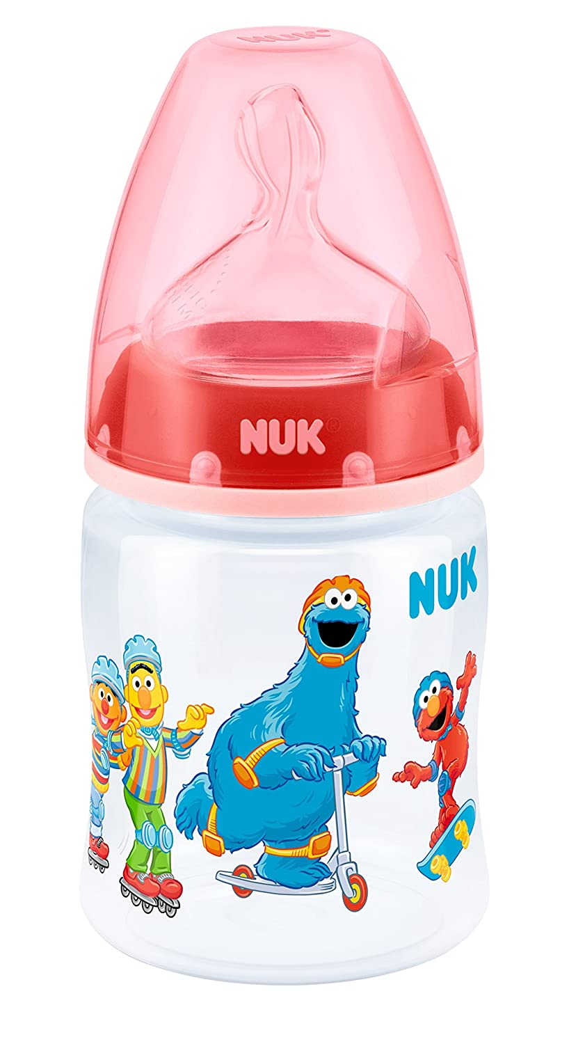 NUK First Choice Plus Babyflasche Sesamstraß e Flaschche, Trinkflasche 150ml
