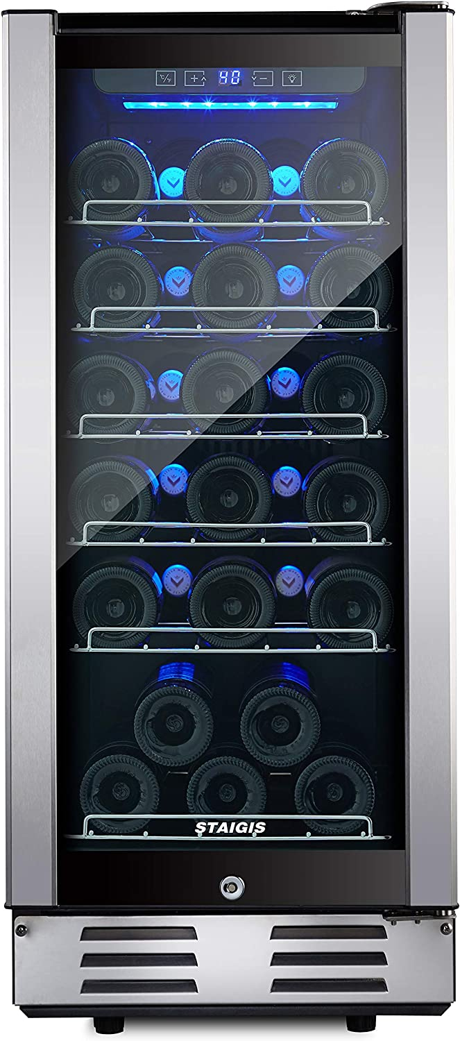 Staigis Wine Refrigerator - 15 Inch Wine Cooler with Stainless steel Frame Glass Front Door - 30 Bottles Wine And Drink Mini Fridge for Built In & Freestanding at Home, Office, Kitchen And Bar