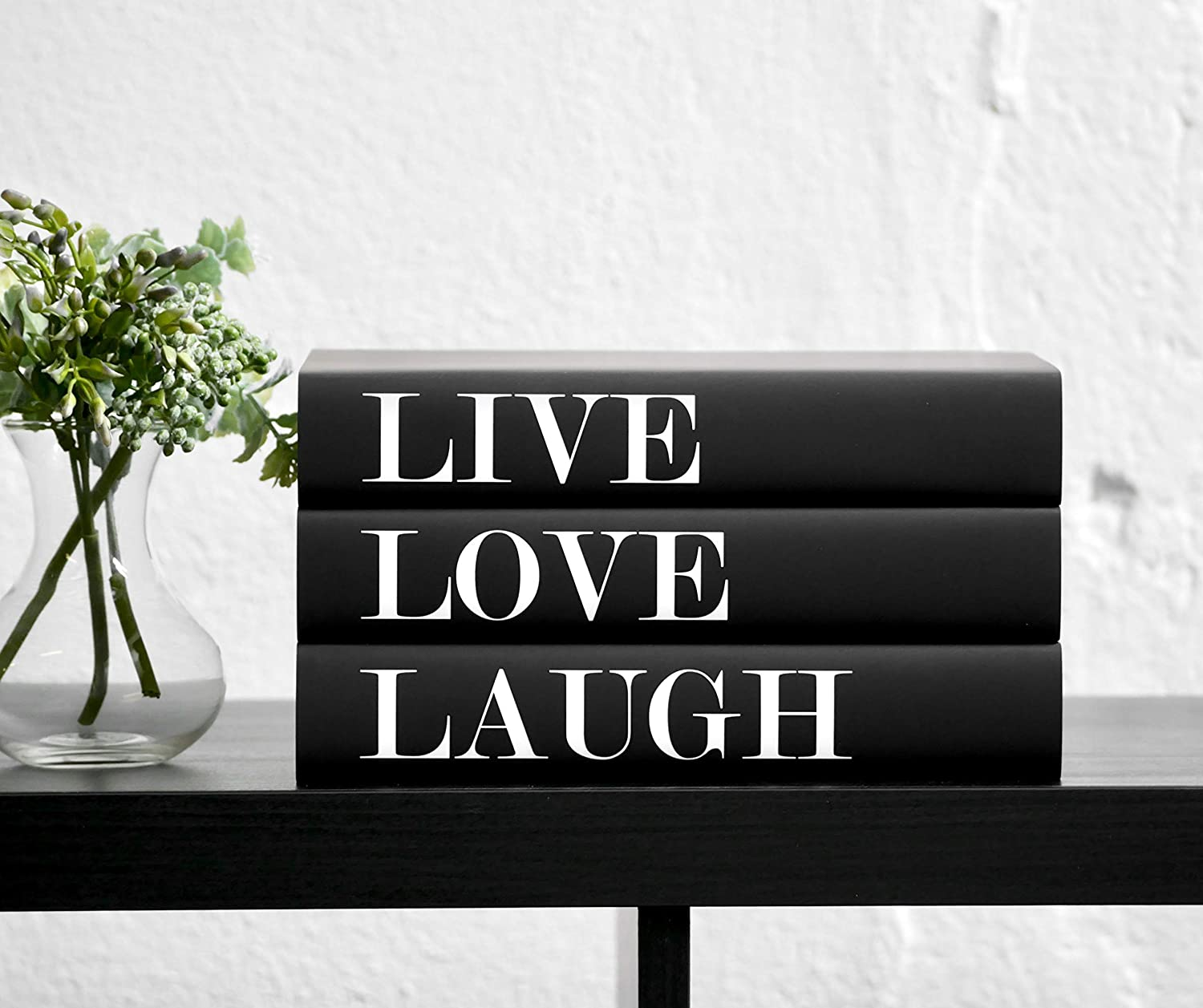 Amazon Com Live Love Laugh Decorative Books For Decorating Set Of 3 Decor For Bookshelves And Coffee Tables Handmade