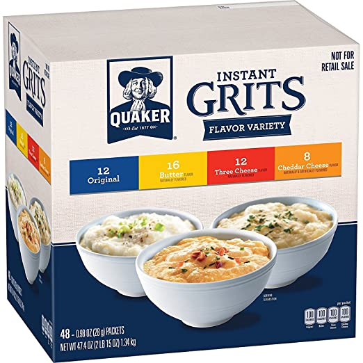 Quaker Instant Grits 48ct Box.