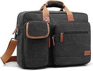 CoolBELL 15.6 Inch Laptop Bag Canvas Briefcase Protective Messenger Bag Shoulder Bag for Laptop/Ultrabook/Tablet/Men/Women/Business (Canvas Black)