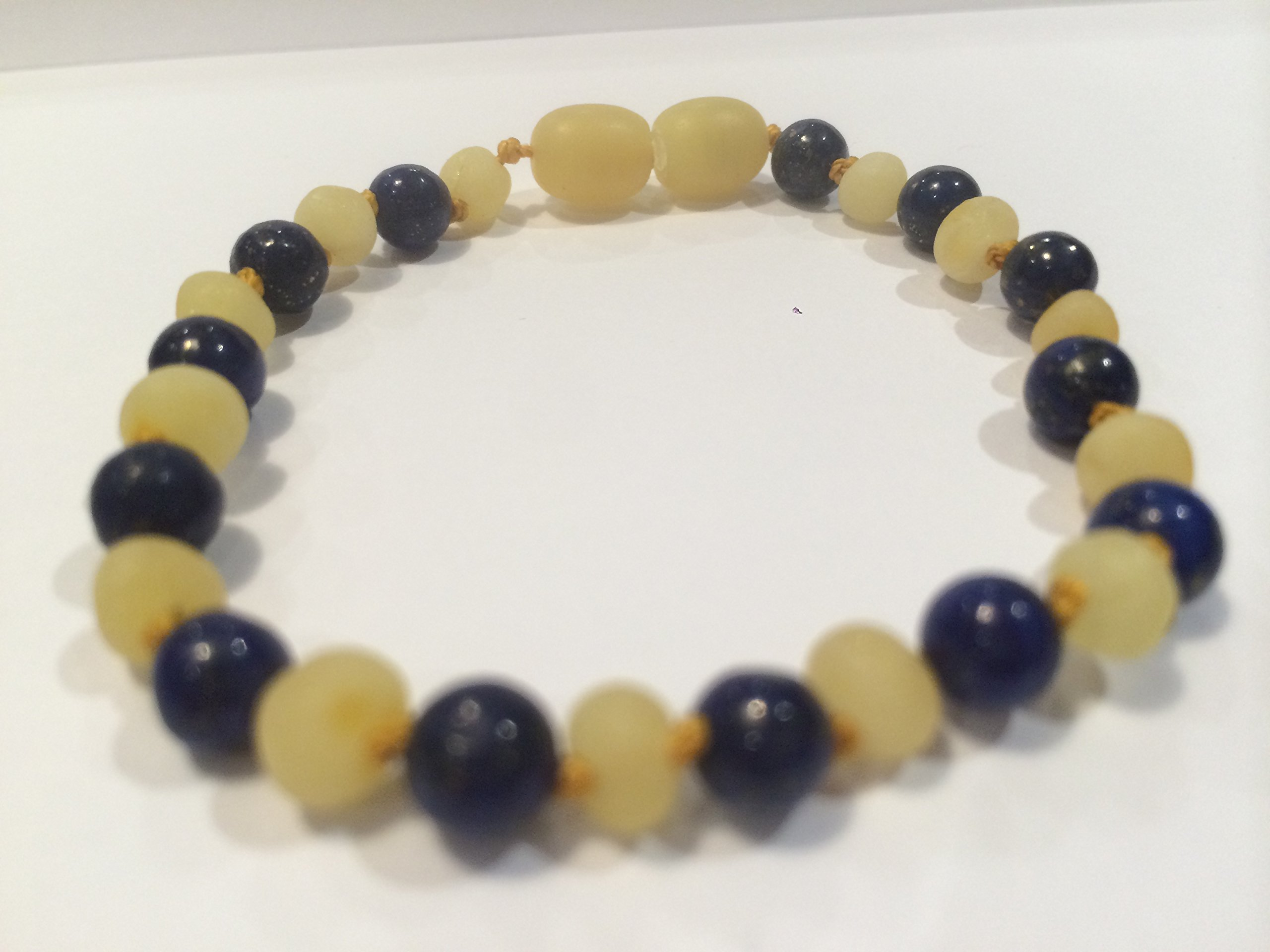 ADHD Raw Milk Unpolished Baltic Amber Bracelet 8 Inch with Lapis Lazuli for Adults or big kids 8 by Baltic Amber Bracelet
