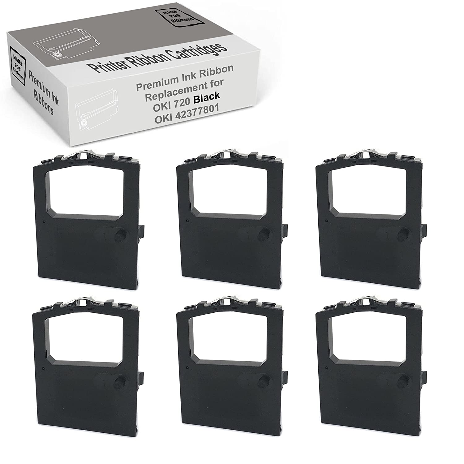Oki 42377801 Microline Ribbon 6 Pack Black Compatible Ribbons for Oki 720 Microline 420 420N 421 421N 490 490N 491 491N MARS POS Printer Ribbons OKI CR42377801