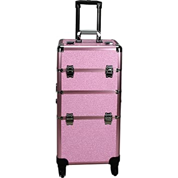 1ae2adac200c Hiker 4-Wheels Professional Rolling Aluminum Cosmetic Makeup Case &  Easy-Slide & Extendable Trays...