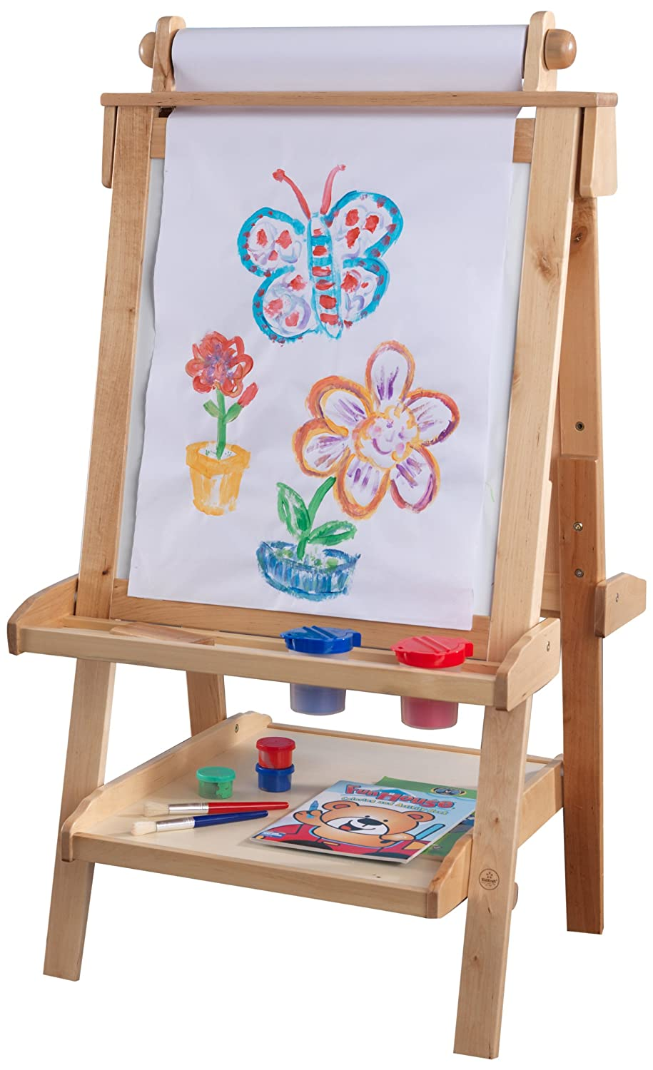 amazon com kidkraft deluxe wood easel natural toys games