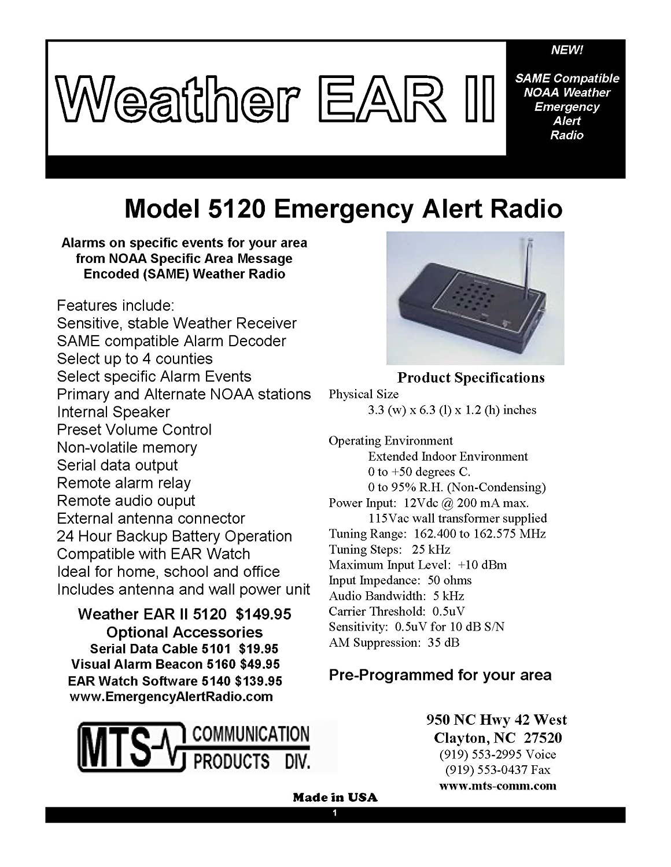 Weather Ear II 5120 Emergency Alert Radio