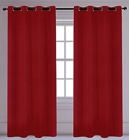 Fuchsia Set of 2 LJ Home Fashions 320 Luxura Light Reducing Privacy Grommet Curtain Panels 56 W x 95 L