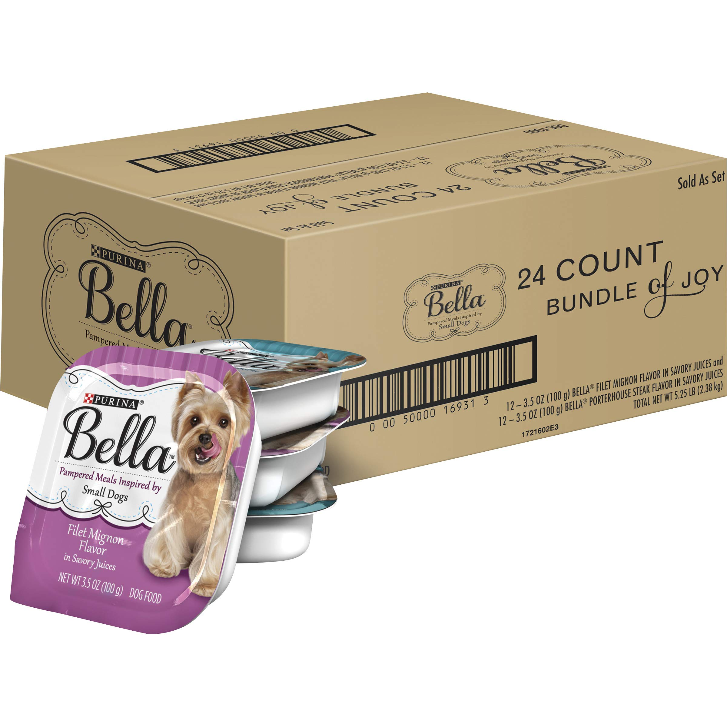 Purina Bella Small Breed Pate Wet Dog Food Variety Pack, Filet Mignon & Porterhouse Steak in Juices - (24) 3.5 oz. Trays by Purina Bella