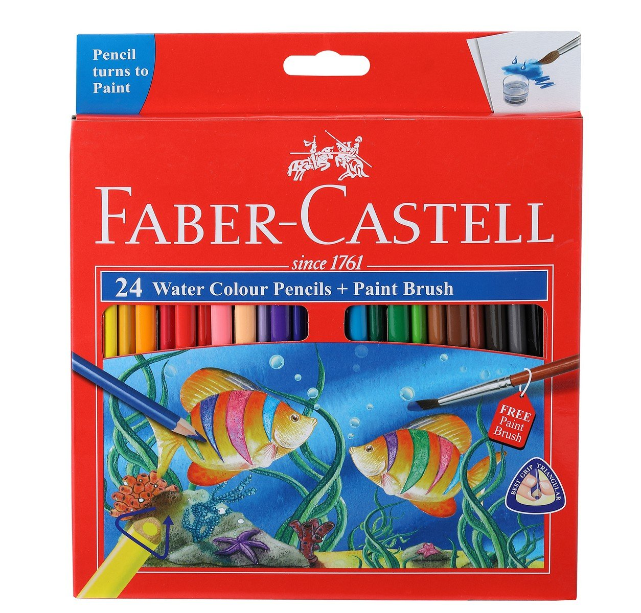 Premium Quality Art ... Faber-Castell Watercolor Crayons with Brush 15 Colors