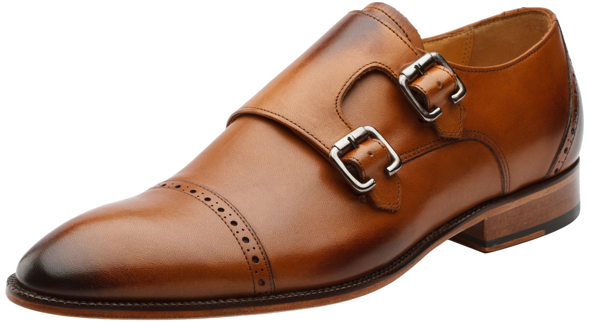 13f3501e680e Galleon - 3DM Lifestyle Mens Toe Cap Double Monk Strap Modern Classic  Leather Lined Perforated Dress Shoes